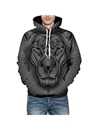 Thermal Sport Outwear,Men's Autumn Winter 3D Print Long Sleeve Hooded Sweatershirt Top Blouse for Men Teen Boys