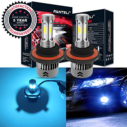 (FANTELI H13/9008 8000K Ice Blue 3-Sided LED Headlight Bulbs All-in-One Conversion Kit - 72W 8000lm Dual Hi/Lo Beam Extremely Bright)