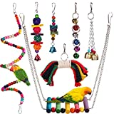 HAPPYTOY Bird Parrot Toys Play Fun Set for Cages, 7Pcs Colorful Chewing Hanging Swing Toy Bells, Wooden Spiral, Cotton Rope, Ladder Swing for Small Parrots, Macaws, Parakeets, Conures, Cockatiels, Lov