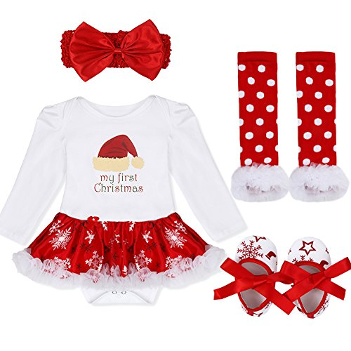 Christmas Picture Outfits (iEFiEL Baby Girls Christmas Picture Skirt Bodysuit Headband Leg Warmer Shoes Set (9-12 Months, Christmas Hat))