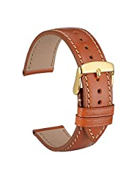 WOCCI 18mm Full Grain Leather Watch Band with Gold Buckle, Sports-Style Strap, Replacement Bracelet (Gold Brown)