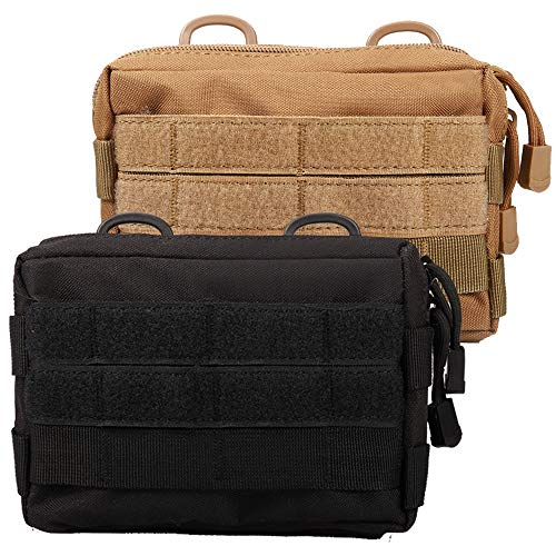 Novemkada MOLLE Pouches - 2 Pack Tactical Compact Water-resistant Utility Gadget Gear EDC Pouch (Pack of 2 Black+Tan)