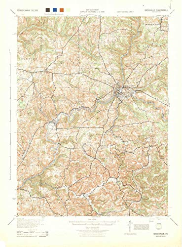 YellowMaps Brookville PA topo map, 1:62500 Scale, 15 X 15 Minute, Historical, 1944, 21.7 x 16 in - Paper ()