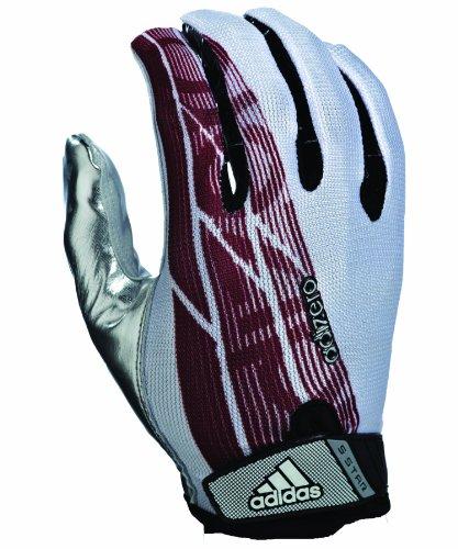 adidas Adizero 5-Star Football Receiver Gloves, Large, White/Maroon/Silver (Adizero Football Gloves compare prices)