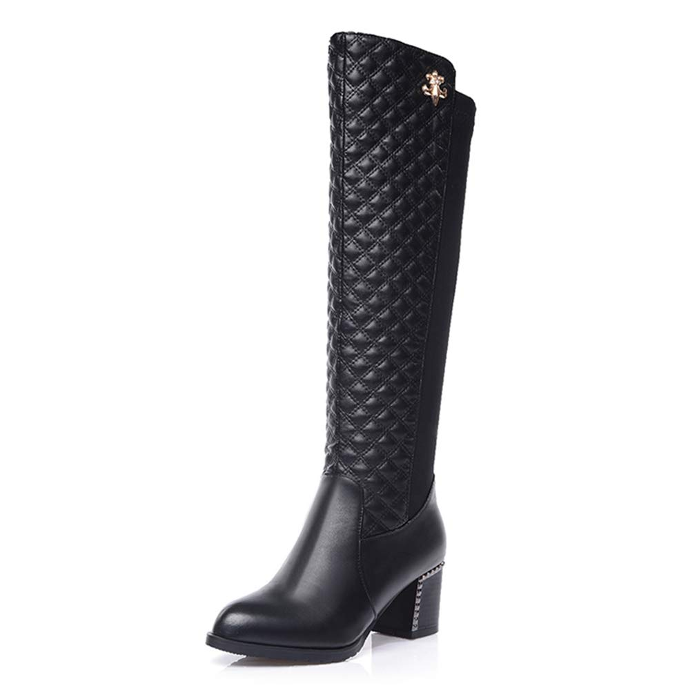 Black Women's Knee-High Boots Pointed Toe Zip Square Heel Boots Thick Heel Girls Fashion Show Thin Elastic Boots Size 32-43