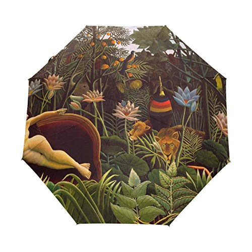 (Vipsk Folding Umbrella Dream by Henri Rousseau Painting Travel Umbrella Windproof Automatic Compact Rain Travel Umbrella,Lightweight,Auto Open/Close)