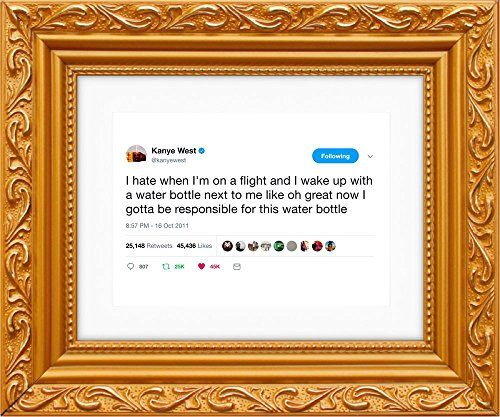 Framed Tweets Kanye West Water Bottle (Art, Quote, Poster
