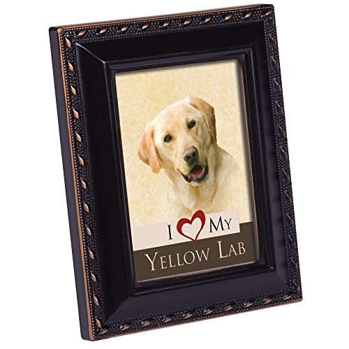 Cottage Garden I Love My Yellow Lab Black Rope Trim Tiny Frame with Magnet and Easel