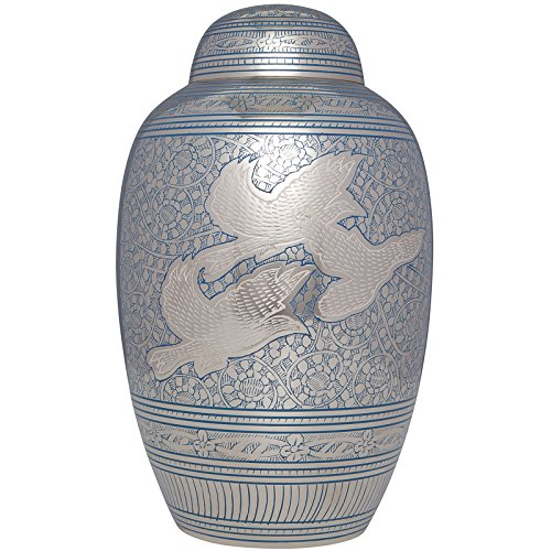 Liliane Memorials Blue Funeral Cremation Urn with Dove Birds in Flight Volando Model in Brass for Human Ashes; Suitable for Cemetery Burial; Fits Remains of Adults up to 200 lbs, Large/200 lb,