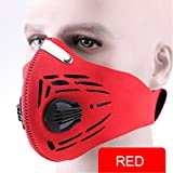 Dust Face Mask, Upgrade Version Workout Mask PM2.5 Air Safety Filter Suitable For Outdoor Activity Interior Work Pro Half Face Mask iSKUKA (Mask 1- Red)