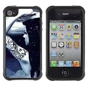 iArmor Hybrid Anti-Shock Defend Case / Cool Awsome Tattoo Girl / Apple iPhone 5 5s