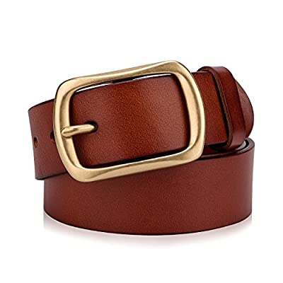 "Men's Genuine Leather Belt with Solid Brass Buckle, 1.5""/38mm Top-Grain Leather Dress Belts For Men. Packed in Gift Box"