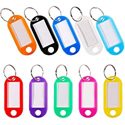 30 Pcs Key Tags Luggage ID Labels Write on Key Identify Labels with Split Ring 10 Assorted Colors