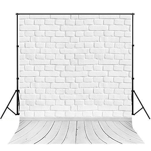 Price comparison product image Photography Backdrop,  MeeQee 5X7ft White Brick Wall with Grey Wooden Floor Photo Studio Pictorial Cloth Photography Background Screen for Photo,  Video and Television,  MQ-WB1