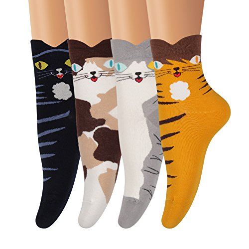 AMKMAX Women Socks Cute Animal Socks Patterned Colorful Funny Novelty Casual Cotton Crew ()