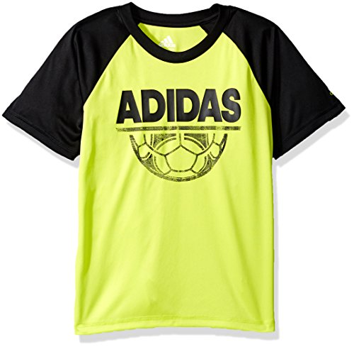 Adidas Soccer Short Sleeve Tee - Adidas Boys' Big Short Sleeve Graphic Tee Shirts, Soccer Solar Yellow, X-Large