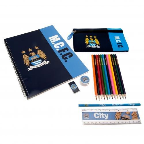 Manchester City F.C. Ultimate Stationery Set 1 X Notebook 28Cm X 21Cm 1 X Ruler 3 X Pencils 2 X Rubbers 1 X Pencil Sharpener 1 X Pencil Case 12 X Coloured Pencils (Fc Stationery Set)