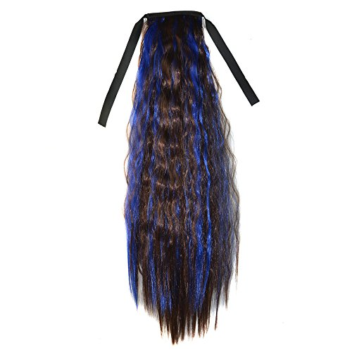 Abwin Mixed Color Bundled Corn Hot Roll Ponytail / Dark Brown and Sapphire (Corn Roll Hairstyle)