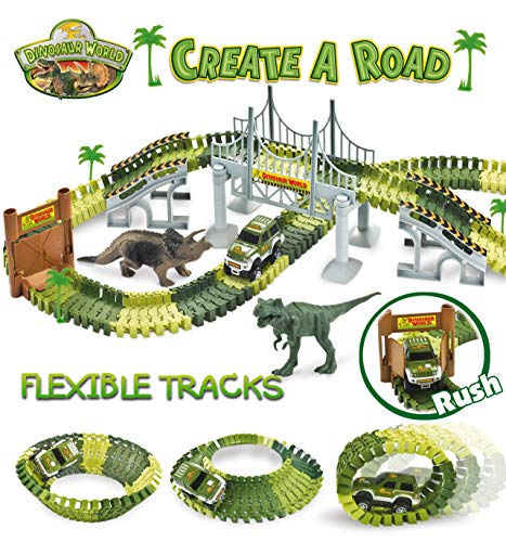 STNTUS INNOVATIONS Dinosaur Toys, Build and Create a Road in Jurassic World, 142 Flexible Race Tracks with Battery Operated Car, Bridge and 2 Dinosaurs, Awesome Birthday Gifts for Boys Girls