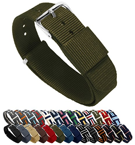 BARTON Watch Bands - Choice of Color, Length & Width (18mm, 20mm, 22mm or 24mm) - Army 20mm - Standard Length