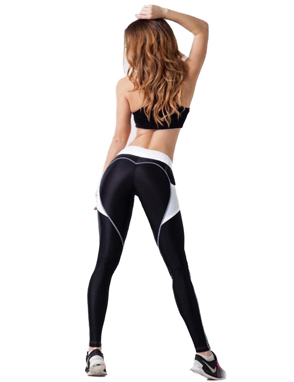 Women Heart-shaped Power Stretch High Waist Fitness Running Workout Leggings