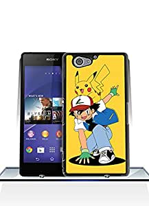 Sony Xperia Z2 Compact Funda Case, Pokemon Pikachu And Ash Game Customized Plastic Special Design Ultra Slim Tough Hard Back Film Protector Skin [Just fit for Z2 Compact]