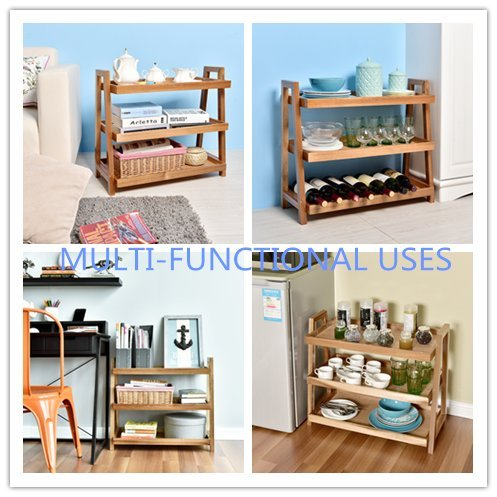 WELLAND End Tables 3-Tier Acacia Wine Rack Wooden Stand Living/Study Room/Bathroom/ Kitchen Storage Shoe Racks