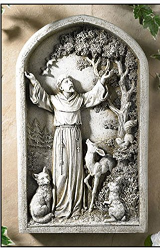 Saint Francis Resin Plaque Garden Figure. Boxed ()