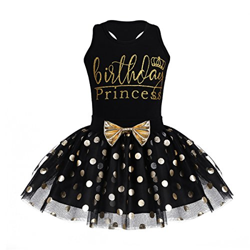 inlzdz Toddler Girls Sleeveless Racer Back Top with Shiny Polka Dot Tutu Skirt Birthday 2pcs Outfit Black 4-5