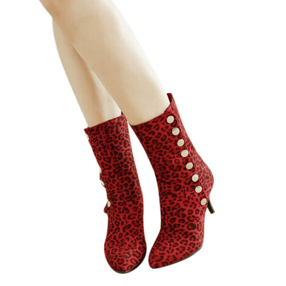 LILICAT❋ Mujer Moda otoño e Invierno Botines de tacón Alto Botas de Leopardo Anti-Terciopelo para Mujeres, Botines con Botones Botines con Estampado de ...