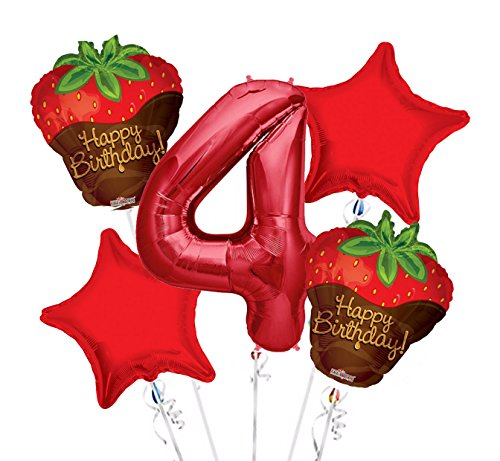 Strawberry Chocolate Balloon Bouquet 4th Birthday 5 pcs - Party Supplies