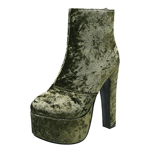 Mee Shoes Damen high heels Suede Plateau Stiefel Grün