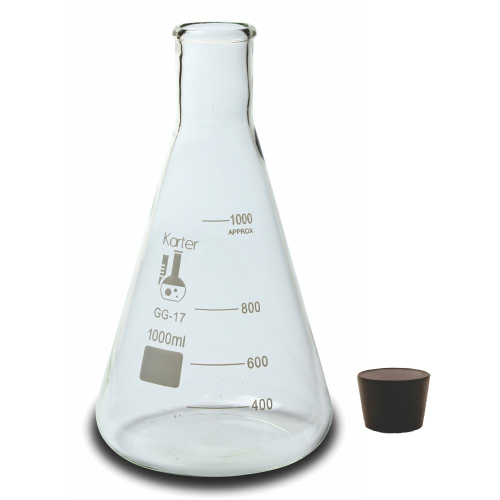 1000ml Narrow Mouth Erlenmeyer Flask with Rubber Stopper, Karter Scientific 213G22