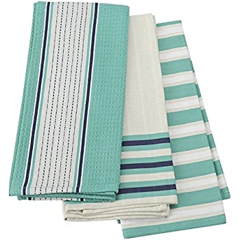 FLOOR | 9 Cotton Kitchen Towels, Teal And Navy, Set Of 3