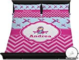 Airplane Theme - for Girls Duvet Cover Set - King (Personalized)
