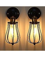 Lámpara de Pared Vintage Industrial Ajustable Metal E27 Base Aplique de Pared Jaula de Alambre Antiguo Estilo Retro Rústico para la Sala de Estar Del Dormitorio Mesa de Comedor, 2 Paquetes