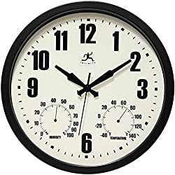 Infinity Instruments Patio Black Outdoor Clock, 14