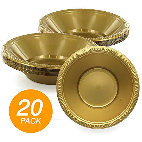 SparkSettings Reusable Plastic Bowls Washable BPA Free Cereal Bowl Perfect for for Salad, Fruit, Dessert, Snack, Small Serving and Mixing Bowls - Gold, Pack of 20 ()