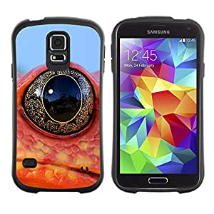 Exotic-Star Hybrid Heavy Duty Shockproof iFace Fundas Cover Cubre Case para Samsung Galaxy S5 V SM-G900 ( Enfriar la rana lagarto neón ojo )
