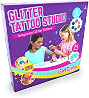 GirlZone: Temporary Glitter Tattoos Kit for Girls, 33 Pieces, Arts & Crafts for Girls, Great Gifts for Girls