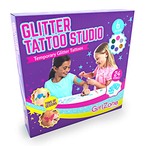 GirlZone: Temporary Glitter Tattoos Kit for Girls, 33 Pieces (Most Popular Christmas Gifts For 6 Year Olds)
