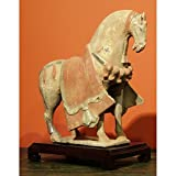China Furniture Online Ceramic Horse Sculpture, Vintage Tang Dynasty Clay Replica Figurine Red Brown
