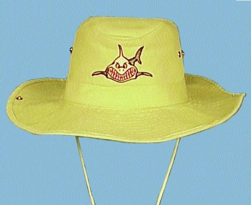 New Australian Outback Snap Brim Hat with Embroidered Megalodon Great White Sharky Logo (Size Large) (White)/LID by Trident   B006O4FJGG