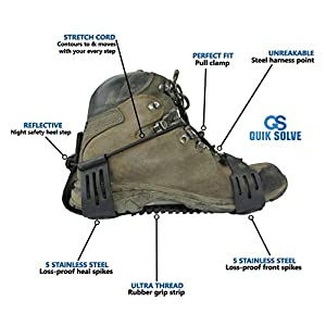 Quik Solve Snow Ice Traction Shoe Boot Cleats - Walking Grip Spikes Medium