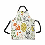 InterestPrint Adjustable Bib Apron for Women Men Girls Chef with Pockets, Summer Forest Cute Woodland Animal Tree Mushroom Berry Kitchen Apron for Cooking Baking Gardening Grooming Cleaning