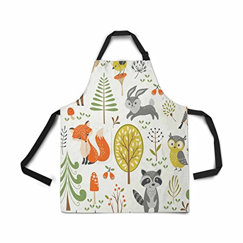 InterestPrint Adjustable Bib Apron for Women Men Girls Chef with Pockets, Summer Forest Cute Woodland Animal Tree Mushroom Berry Kitchen Apron for Cooking Baking Gardening Grooming Cleaning (Apron Woodland)