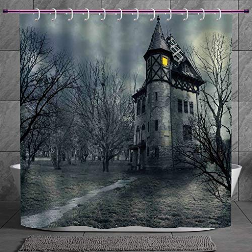 SCOCICI Funky Shower Curtain 2.0 [ Halloween,Halloween Design with Gothic Haunted House Dark Sky and Leafless Trees Spooky Theme Decorative,Teal ] Fabric Shower Curtain