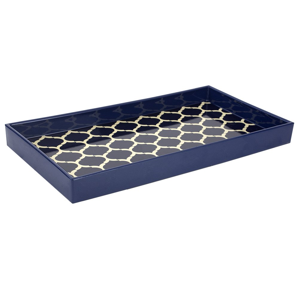 Home Basics Lattice Collection Decorative Serving Vanity Tray, Navy Blue (Serving Tray with Handles) HDS Trading Corp ST47566