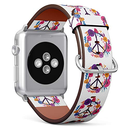 - S-Type iWatch Leather Strap Printing Replacement Wristbands Compatible with Apple Watch 4/3/2/1 Sport Series (42mm) - Hippie Floral Peace Sign Symbol