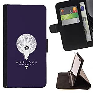 Momo Phone Case / Flip Funda de Cuero Case Cover - Warlock abisario Azul;;;;;;;; - Apple Iphone 5 / 5S